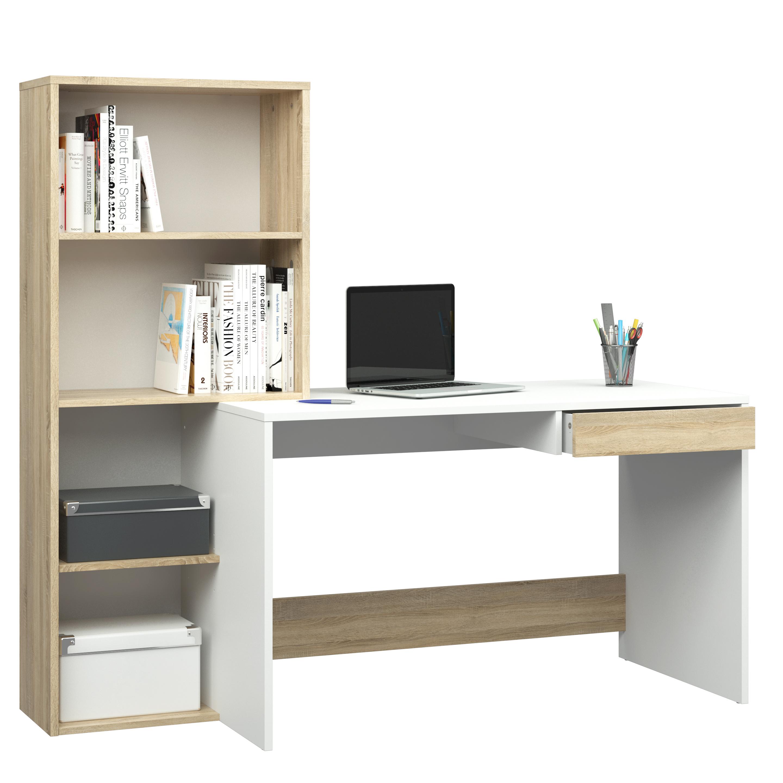 """Γραφείο εργασίας με βιβλιοθήκη """"DALMA"""" σε χρώμα σονόμα-λευκό 159x60x145"""