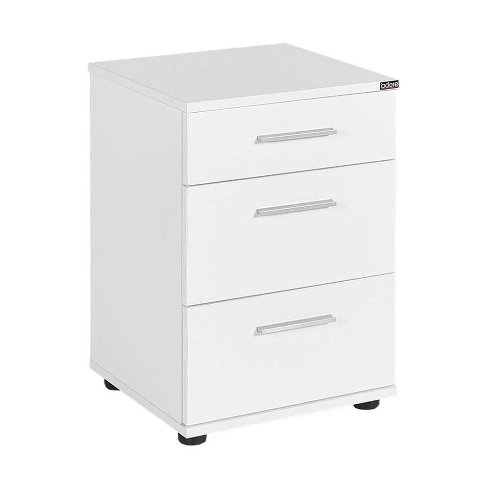 Κομοδίνο σε χρώμα λευκό με τρία συρτάρια 40x39x57