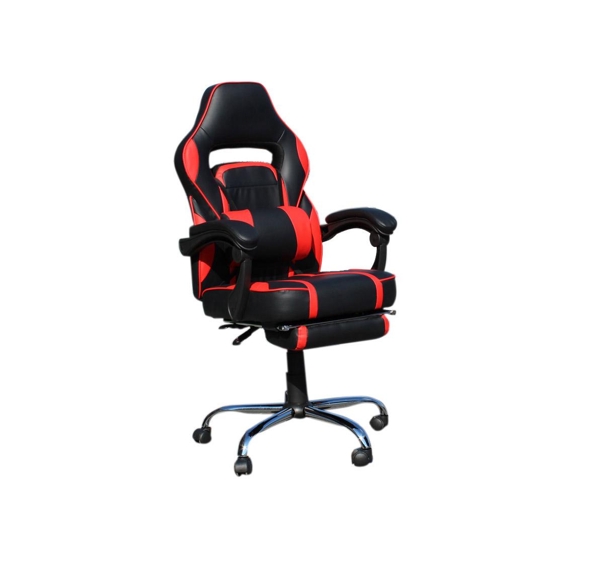 """Πολυθρόνα """"GAMING"""" με μαξιλάρι από PU/PVC σε χρώμα μαύρο/κόκκινο 62x62x112/122"""