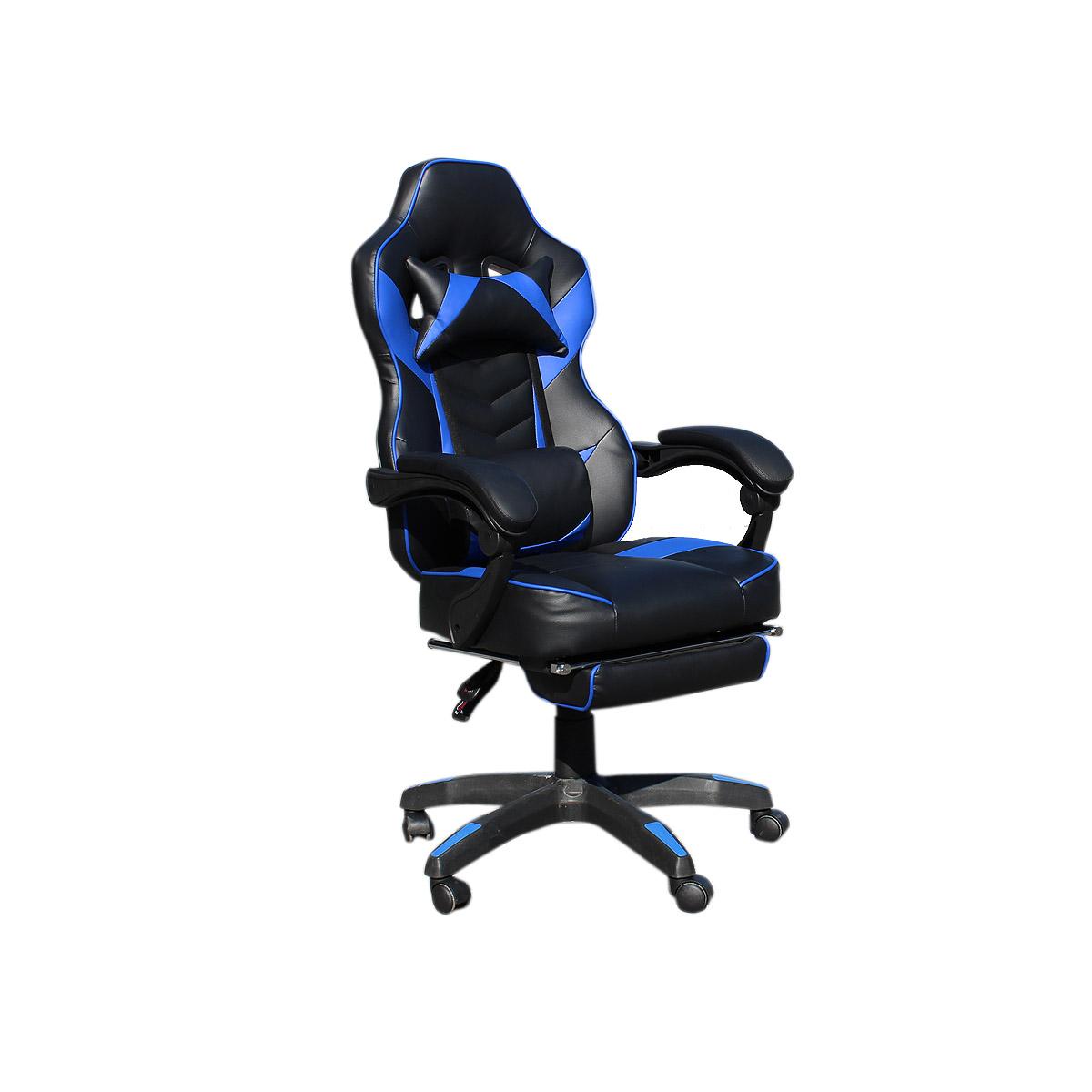 """Πολυθρόνα """"GAMING"""" με μαξιλάρι από PU/PVC σε χρώμα μαύρο/μπλε 62x62x112/122"""