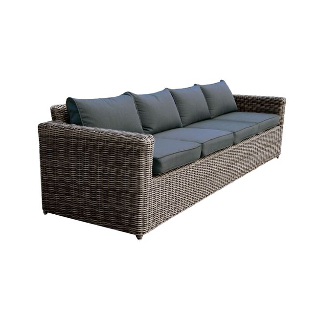 """Καναπές """"ARIZONA"""" τετραθέσιος wicker σε χρώμα γκρι-καφέ 252x77x73"""