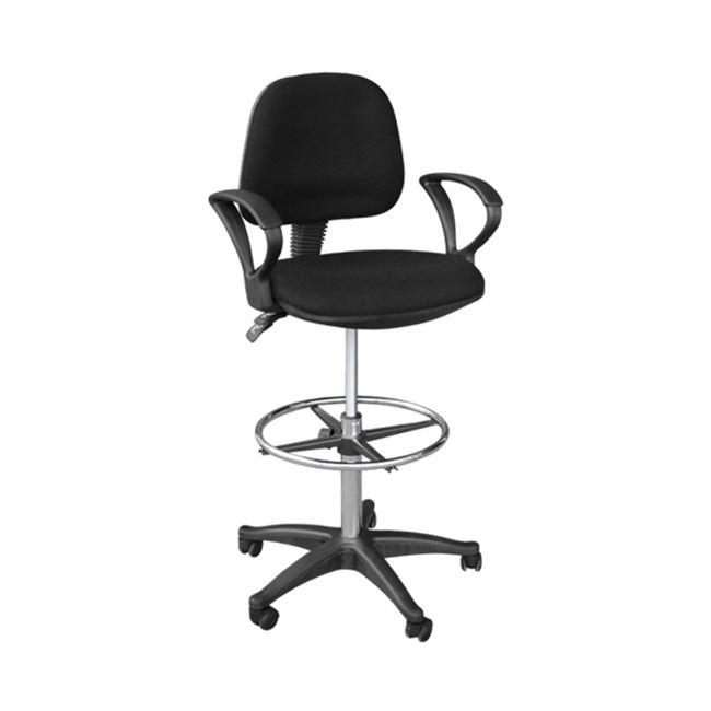 Σκαμπώ γραφείου από ύφασμα σε μαύρο χρώμα 47x45x106/126