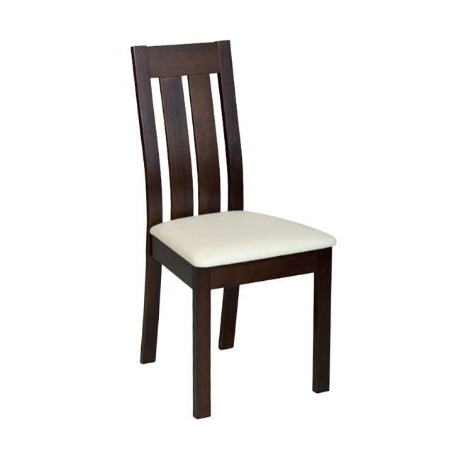 """Καρέκλα """"REGO"""" ξύλινη-pvc σε χρώμα καρυδί-εκρού χρώμα 45x52x97"""