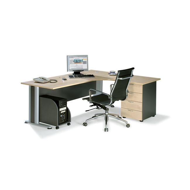 """Γραφείο """"SUPERIOR COMPACT"""" δεξιά γωνία σε χρώμα φυσικό/οξυά 180x70x75"""