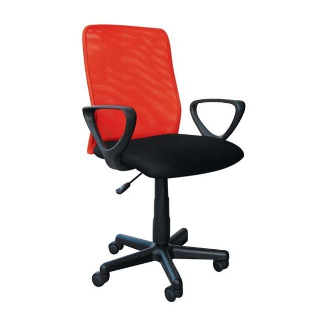 Πολυθρόνα εργασίας από ύφασμα mesh σε κόκκινο-μαύρο χρώμα 57x47x86/98