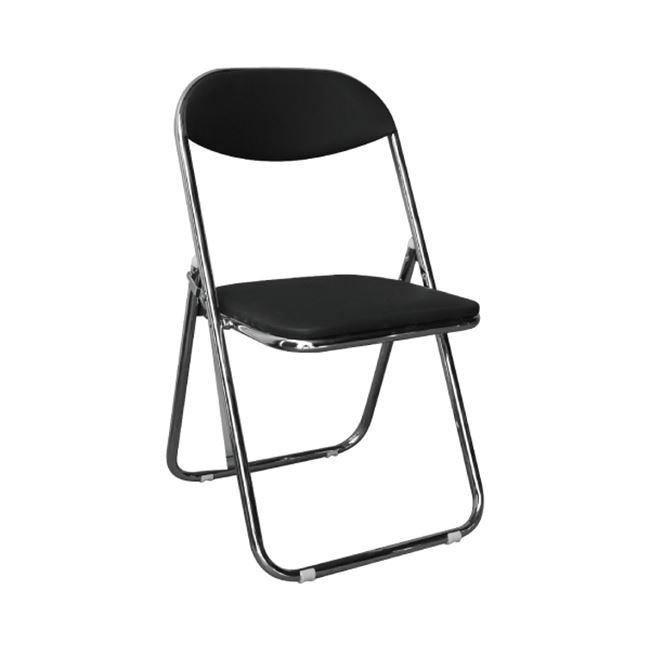"""Καρέκλα """"STAR"""" χρωμιού-τεχνόδερμα σε μαύρο χρώμα 39x39x78"""