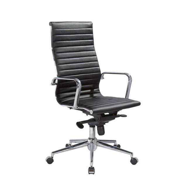 Πολυθρόνα διευθυντή από τεχνόδερμα σε μαύρο χρώμα 56x57x110/120