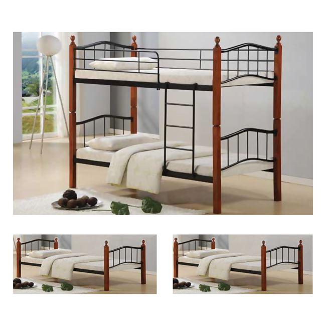 """Kρεβάτι-κουκέτα """"BUTTON"""" μεταλλικό σε χρώμα μαύρο 98x210x159"""