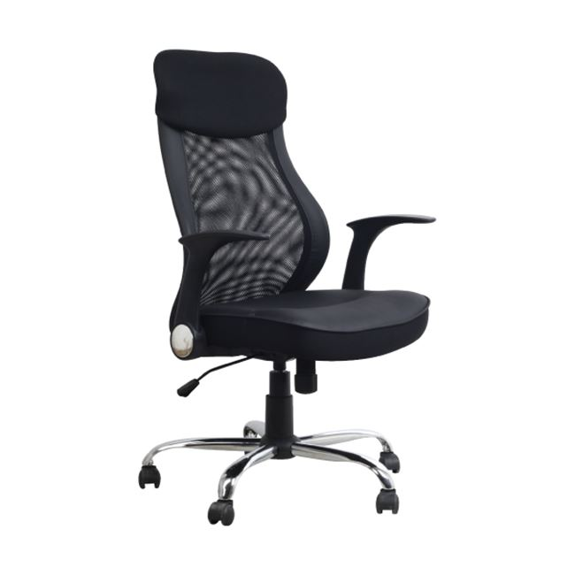 Πολυθρόνα διευθυντή από ύφασμα mesh και τεχνόδερμα σε μαύρο χρώμα 67x62x110/120