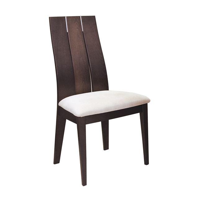 """Καρέκλα """"SAMBER"""" ξύλινη-υφασμάτινη σε χρώμα καρυδί-μπεζ 50x57x101"""