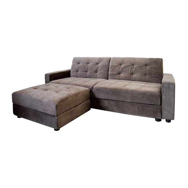 """Καναπές-κρεβάτι """"JACKSON"""" γωνία αναστρέψιμη με σκαμπώ από ύφασμα σε γκρι-καφέ χρώμα 193x81x77"""