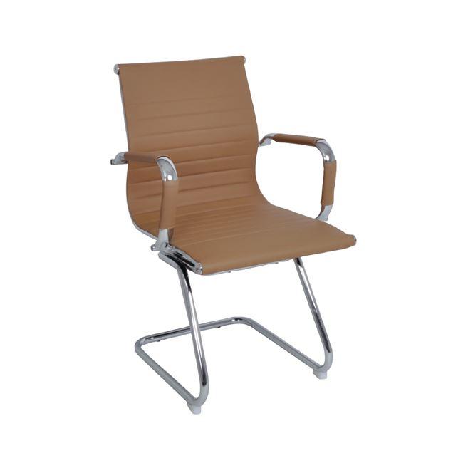 Πολυθρόνα επισκέπτη από τεχνόδερμα σε μπεζ χρώμα 54x59x95