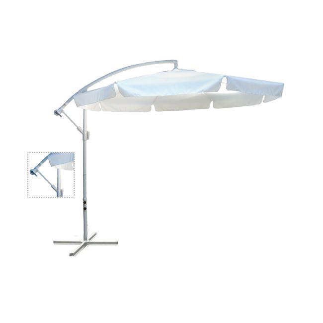 """Ομπρέλα """"HANGIG"""" αλουμινίου-υφασμάτινη σε λευκό χρώμα Φ3"""