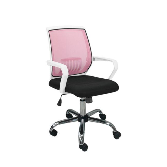 Πολυθρόνα εργασίας χρωμίου από mesh ύφασμα σε ροζ-μαύρο χρώμα 58x59x93/103