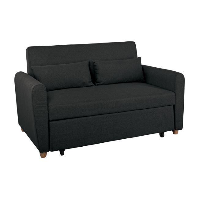 """Καναπές-κρεβάτι """"MOTTO"""" διθέσιος από ύφασμα σε χρώμα ανθρακί 145x89x86"""
