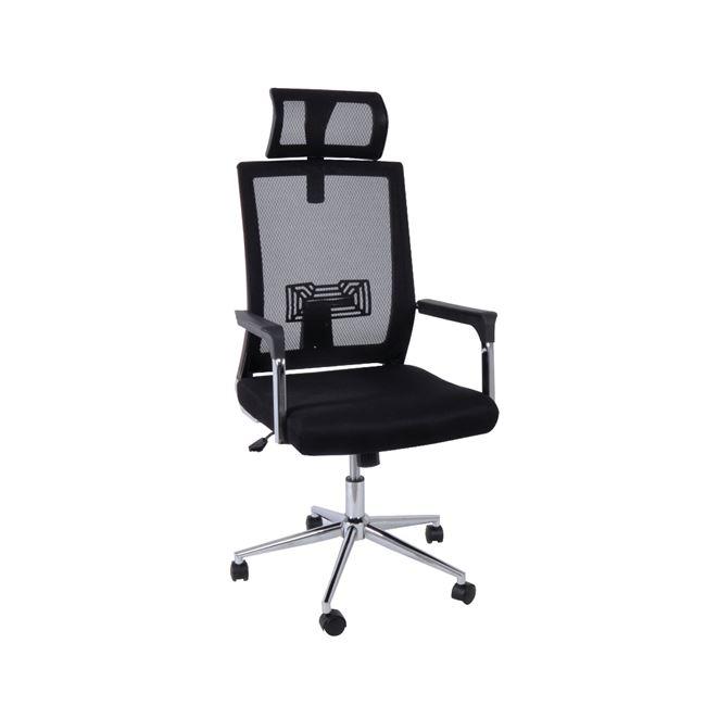 Πολυθρόνα διευθυντή από ύφασμα mesh σε χρώμα μαύρο 64x58x115/123