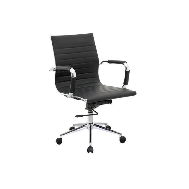 Πολυθρόνα εργασίας χαμηλή πλάτη από τεχνόδερμα σε μαύρο χρώμα 54x59x95/105