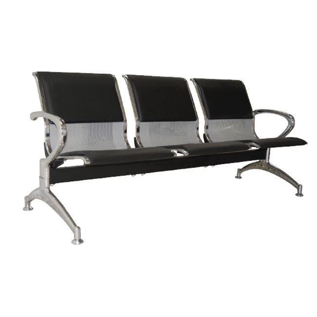 Κάθισμα υποδοχής 3-θέσεων χρωμίου από τεχνόδερμα σε μαύρο χρώμα 180x68x80