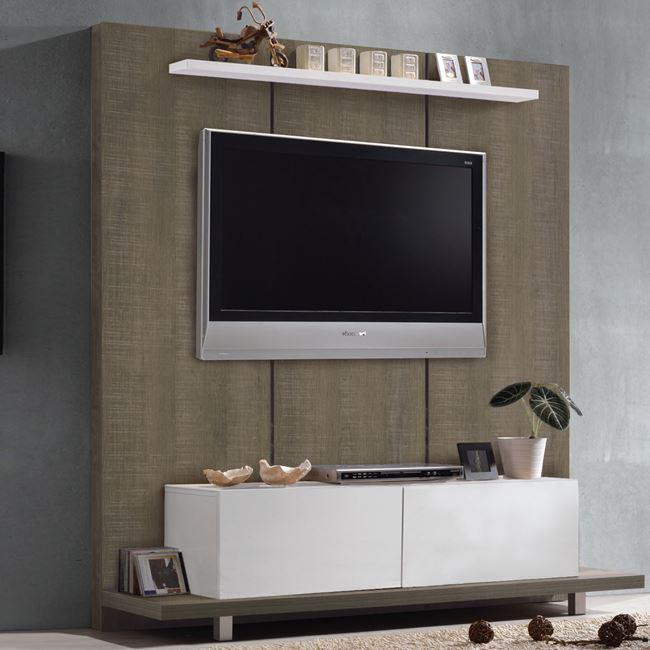 """Έπιπλο τηλεόρασης """"LIFE TV Wall"""" σε καρυδί δρυς-λευκό χρώμα 160x46x175"""