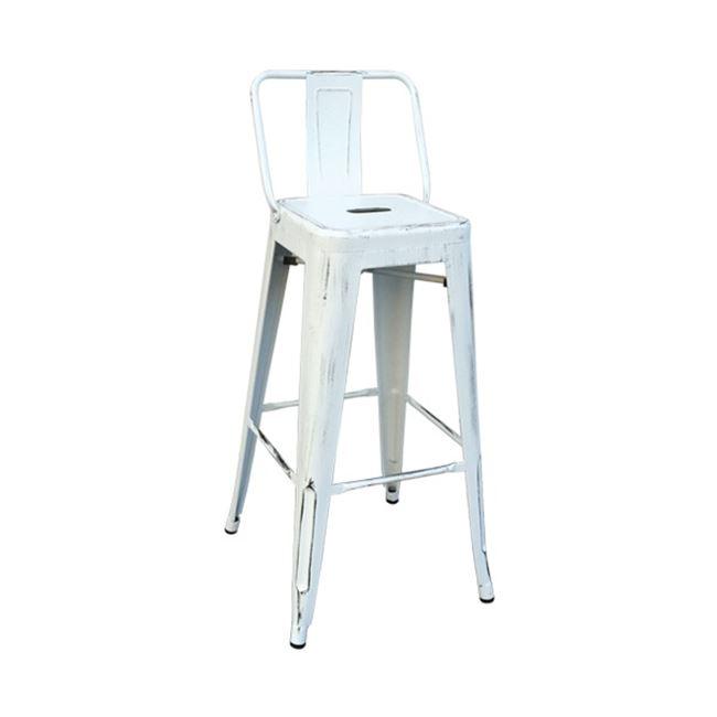 """Σκαμπώ μπαρ """"RELIX"""" με πλάτη αντικέ λευκό χρώμα 43x43x100"""