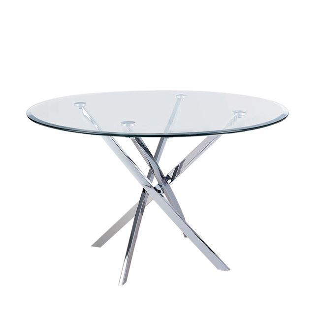 """Τραπέζι """"POSTO"""" χρωμίου με γυάλινη επιφάνεια 120×73"""