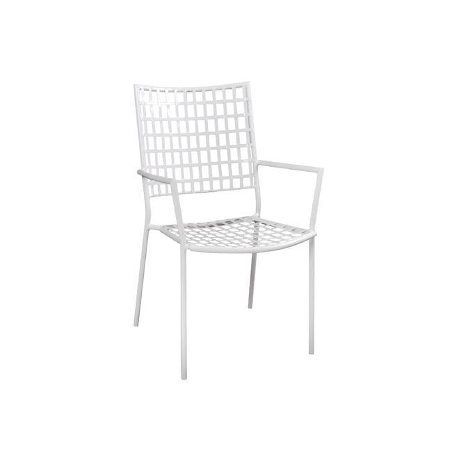"""Πολυθρόνα """"CASTELLO"""" μεταλλική σε λευκό χρώμα 57x62x89"""