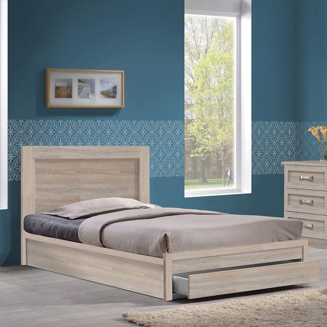 """Κρεβάτι-συρτάρι """"LIFE"""" μονό σε χρώμα σονόμα 99x207x93"""