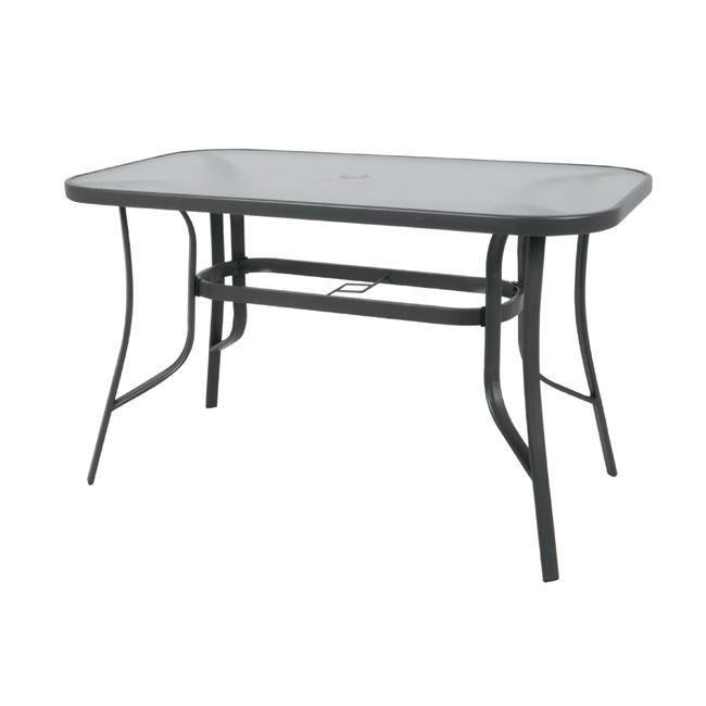 """Τραπέζι """"RIO"""" μεταλλικό σε χρώμα ανθρακί με γυάλινη επιφάνεια 150x90x71"""