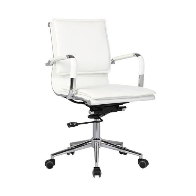 Πολυθρόνα εργασίας με χαμηλή πλάτη από τεχνόδερμα σε λευκό χρώμα 54x59x95/105