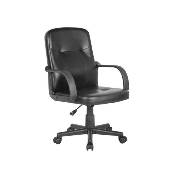 Πολυθρόνα εργασίας από τεχνόδερμα σε μαύρο χρώμα 57x60x88/98