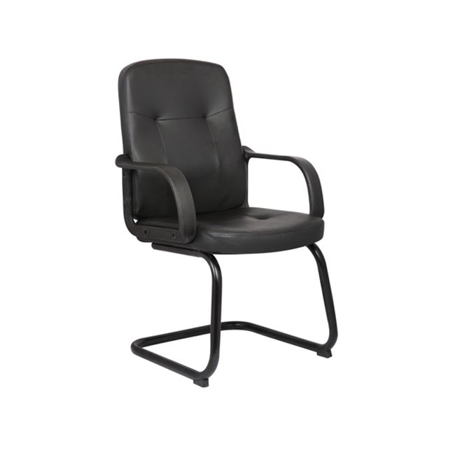 Πολυθρόνα επισκέπτη από τεχνόδερμα σε μαύρο χρώμα 57x59x95
