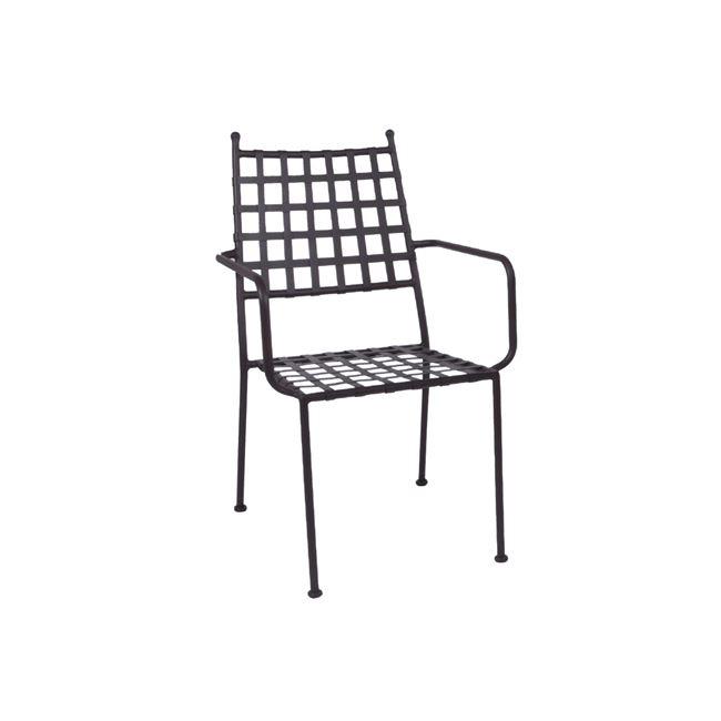 """Πολυθρόνα """"PATON"""" μεταλλική με πλέγμα σε καφέ χρώμα 57x65x92"""
