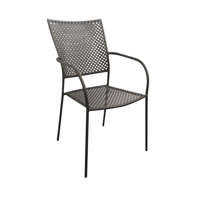 """Πολυθρόνα """"FERIA"""" μεταλλική με πλέγμα σε μαύρο χρώμα 53x55x90"""