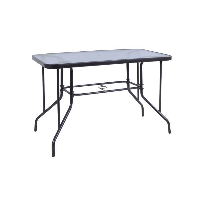 """Τραπέζι """"BALENO"""" μεταλλικό σε χρώμα γκρι με γυάλινη επιφάνεια 110x60x71"""