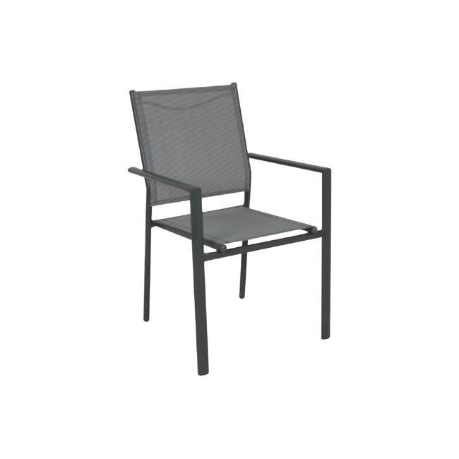 """Πολυθρόνα """"LANSON"""" μεταλλική ανθρακί με textilene σε γκρι χρώμα 55x55x86"""