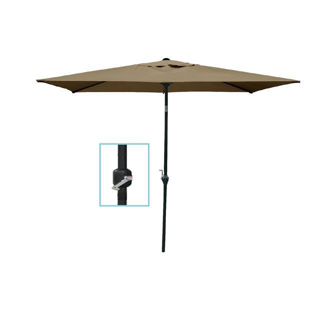 Ομπρέλα βαρέως τύπου μεταλλική-υφασμάτινη σε μπεζ χρώμα 180×270