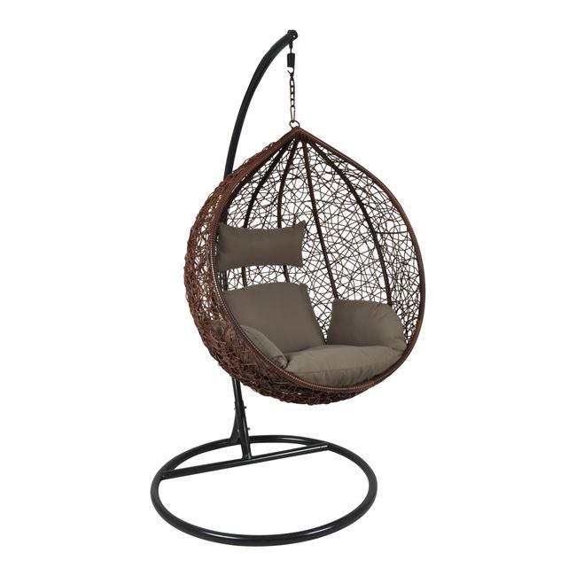 """Πολυθρόνα κρεμαστή """"ISABEL"""" wicker σε καφέ χρώμα 105x112x114/208"""