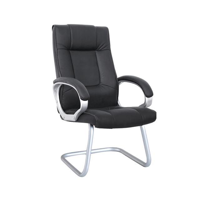 Πολυθρόνα επισκέπτη από τεχνόδερμα σε μαύρο χρώμα 62x69x112