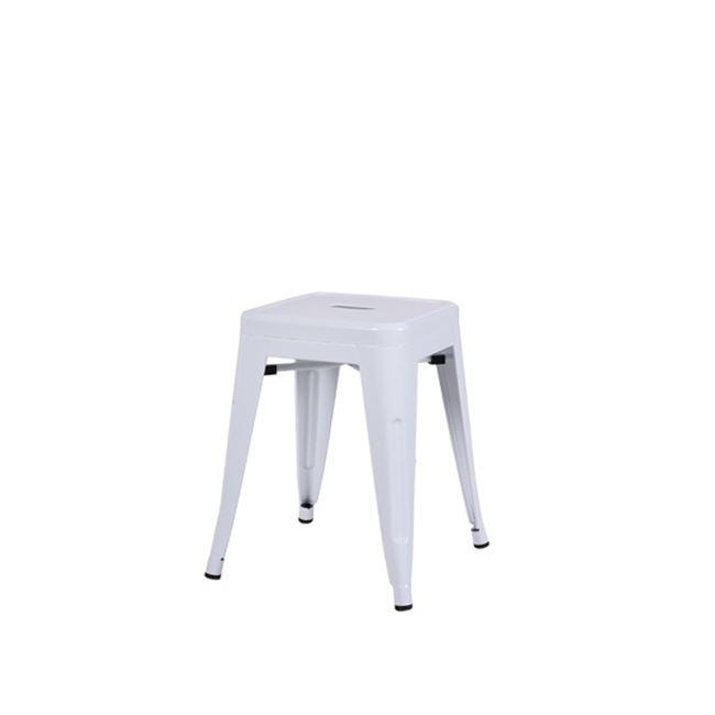 """Σκαμπώ """"RELIX"""" μεταλλικό σε λευκό χρώμα 39x39x45"""
