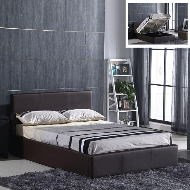 """Κρεβάτι """"WILTON"""" διπλό από τεχνόδερμα σε σκούρο καφέ χρώμα 170x214x90"""