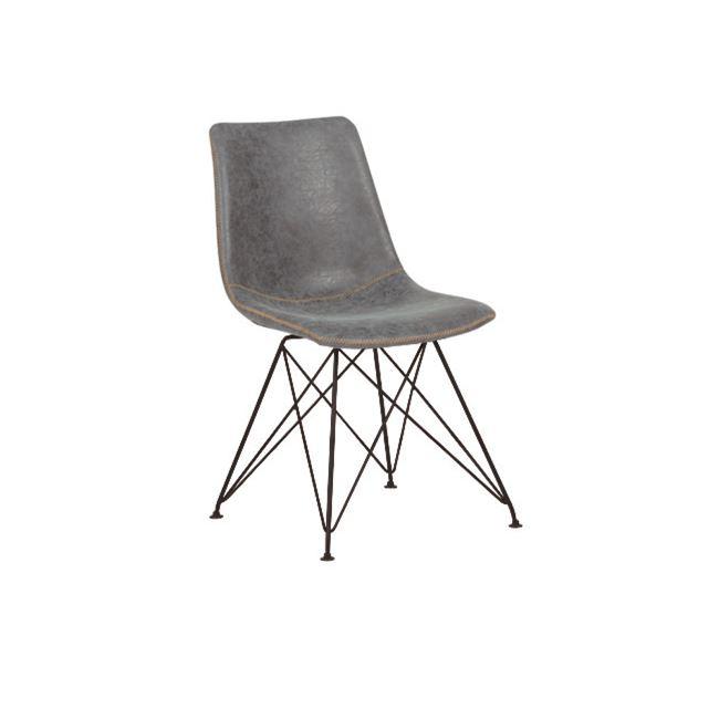 """Καρέκλα """"PANTON"""" μεταλλική-pu σε vintage γκρι χρώμα 43x57x81"""