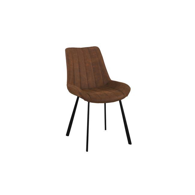 """Καρέκλα """"MATT"""" μεταλλική-υφασμάτινη σουετ σε καφέ χρώμα 55x61x88"""