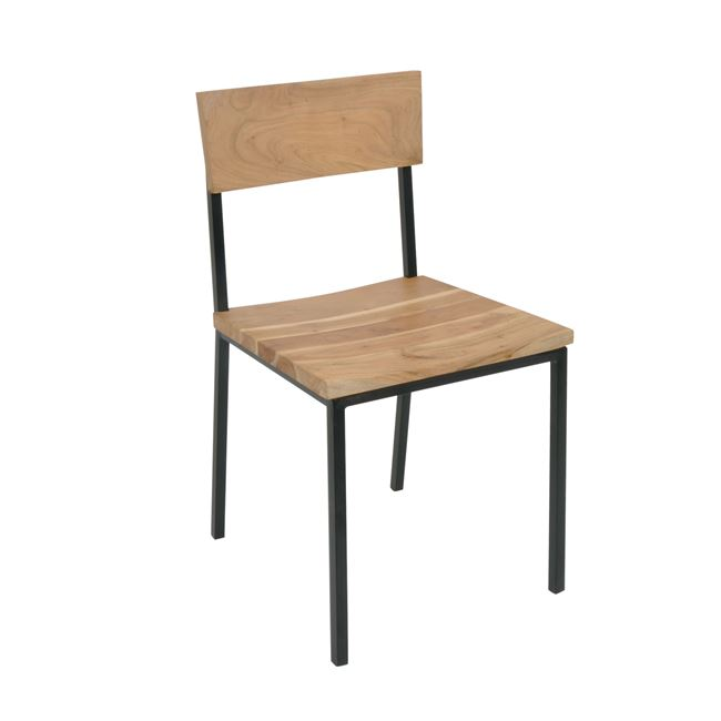 """Καρέκλα """"LIZARD"""" μεταλλική-ακακία σε φυσικό χρώμα 44x46x85"""