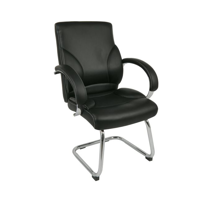 Πολυθρόνα επισκέπτη χρωμίου από τεχνόδερμα σε μαύρο χρώμα 64x66x110