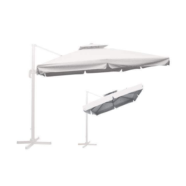 """Ομπρέλα """"HANGING"""" αλουμινίου-υφασμάτινη σε λευκό χρώμα 3×3"""