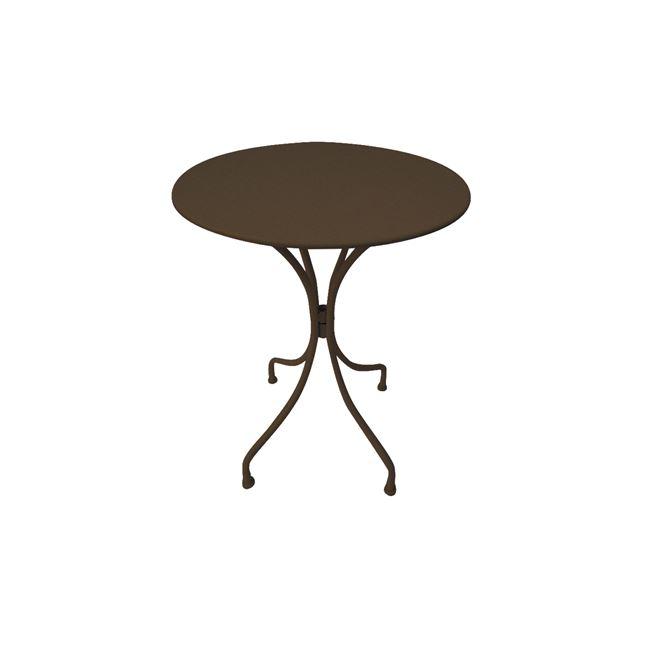 """Τραπέζι """"PARK"""" μεταλλικό στρόγγυλο σε καφέ χρώμα 60×70"""