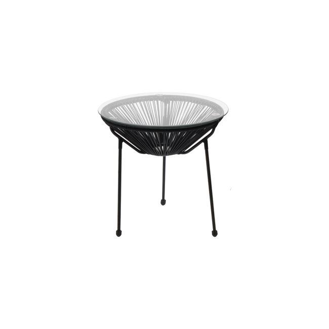 """Τραπέζι """"ACAPULCO"""" μεταλλικό με γυάλινη επιφάνεια σε μαύρο χρώμα 50×50"""