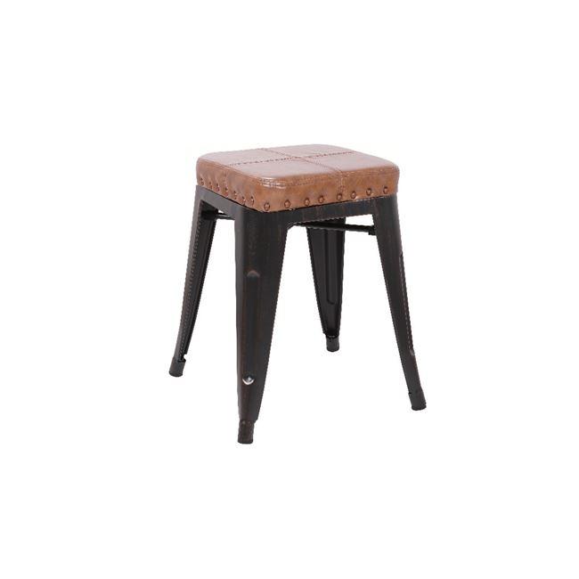 """Σκαμπώ """"RELIX"""" μεταλλικό-pu σε antique black-camel χρώμα 39x39x45"""
