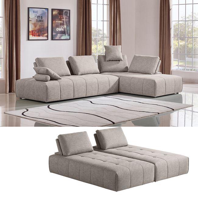 """Καναπές """"MULTI"""" γωνία-αναστρέψιμος από ύφασμα σε sand χρώμα 315x210x105"""