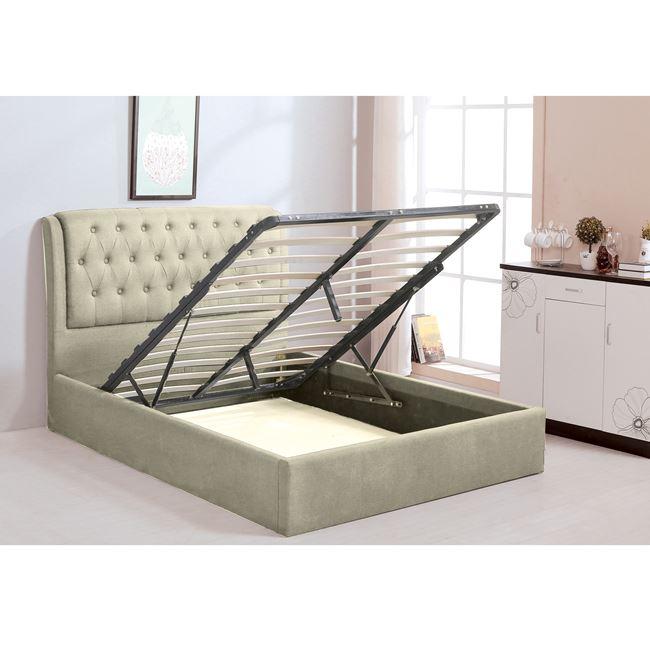 """Κρεβάτι """"MAXWELL"""" διπλό με αποθηκευτικό χώρο από ύφασμα σε χρώμα εκρού 166x221x104"""